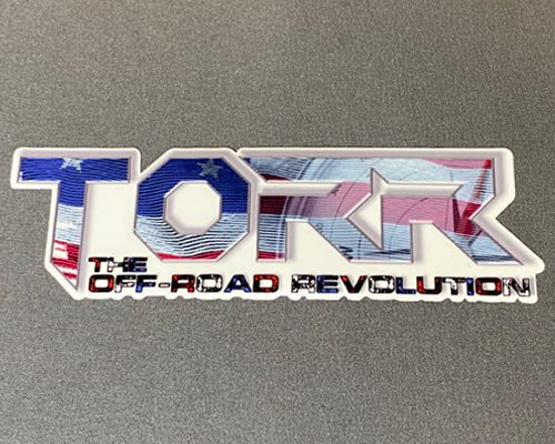 """Torr Flag & Compass 6"""" Decal Red, White & Blue Outline"""
